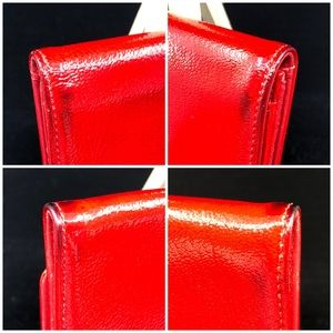 CHANEL Bags - CHANEL RED LEATHER CC LOGO COMPACT BIFOLD WALLET